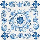 Artisan Medallions White/Blue III Art Print