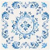 Artisan Medallions White/Blue IV Art Print