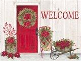 Home for the Holidays Front Door Scene Art Print