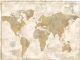 Rustic World Map Cream No Words Art Print