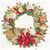 Christmas by the Sea Wreath square Art Print