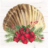 Christmas by the Sea Scallop square Art Print