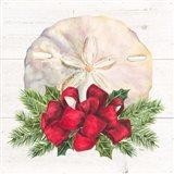 Christmas by the Sea Sanddollar square Art Print