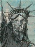Statue Of Liberty Charcoal Art Print