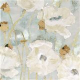 Poppies in the Wind Cream square Art Print