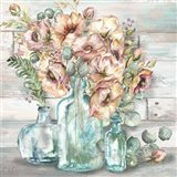 Blush Poppies and Eucalyptus Still Life Art Print