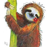 Sloth with Red Flower Art Print
