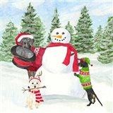 Dog Days of Christmas I Building Snowman Art Print