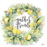Watercolor Lemon Wreath Gather Friends Art Print