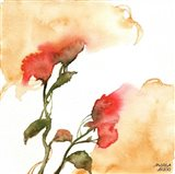 Watercolor Floral Yellow and Red II Art Print