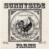 Farmhouse Grain Sack Label Rooster Art Print