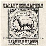 Farmhouse Grain Sack Label Sheep Art Print