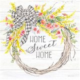 Spring Gingham Wreath Home Art Print