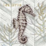 Gray Gold Chevron Seahorse Art Print