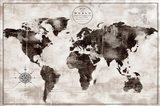 Rustic World Map Black and White Art Print