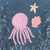 Mermaid and Octopus Navy II Art Print