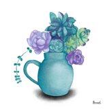 Turquoise Succulents V Art Print