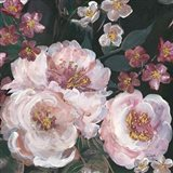 Romantic Moody Florals on Black II Art Print