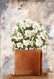 White Flower Clay Pot II Art Print