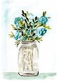 Blue Floral Mason Jar Art Print