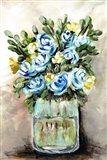 Blue & Yellow Floral Mason Jar Art Print