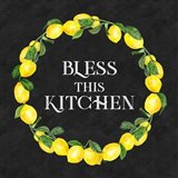 Live with Zest wreath sentiment I-Bless this Kitchen Art Print