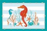 Coral Aqua I on Teal Art Print