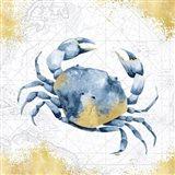 Deep Blue Sea V White Gold Art Print