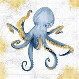 Deep Blue Sea VI White Gold Art Print