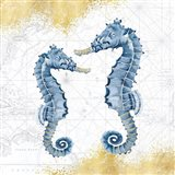 Deep Blue Sea VIII White Gold Art Print