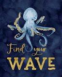Deep Blue Sea IX on Navy Art Print