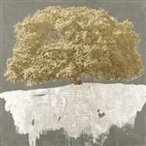Golden Tree on Grey Art Print