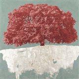 Red Tree on Aqua Art Print