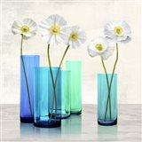 Poppies in crystal vases (Aqua I) Art Print