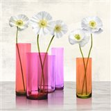 Poppies in crystal vases (Purple I) Art Print