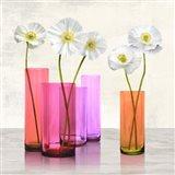 Poppies in crystal vases (Purple I) Art Print