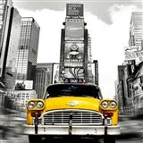 Vintage Taxi in Times Square, NYC (detail) Art Print