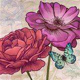 Roses and Butterflies (detail) Art Print