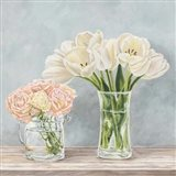 Fleurs et Vases Aquamarine I Art Print
