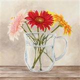 Fleurs et Vases Jaune I Art Print