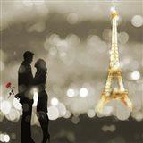 A Date in Paris (BW, detail) Art Print