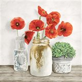 Floral Composition with Mason Jars II Art Print