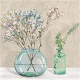Floral Setting with Glass Vases I Art Print