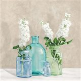 Floral Setting with Glass Vases II Art Print
