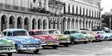 Cars Parked in Line, Havana, Cuba Art Print