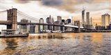 Brooklyn Bridge and Lower Manhattan at sunset, NYC Art Print