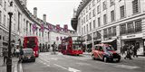 Buses and taxis in Oxford Street, London Art Print