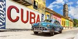 Vintage Car and Mural, Cuba Art Print