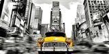 Vintage Taxi in Times Square, NYC Art Print
