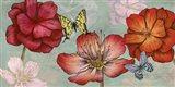 Flowers and Butterflies (Aqua) Art Print